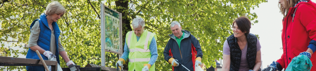 five people litter picking in a park